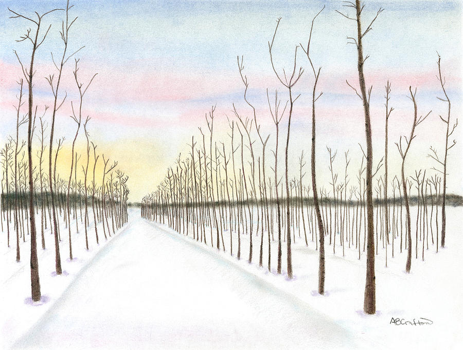 Snowy Lane Painting  - Snowy Lane Fine Art Print