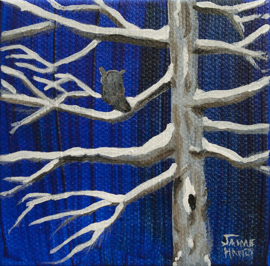 Snowy Night Painting  - Snowy Night Fine Art Print