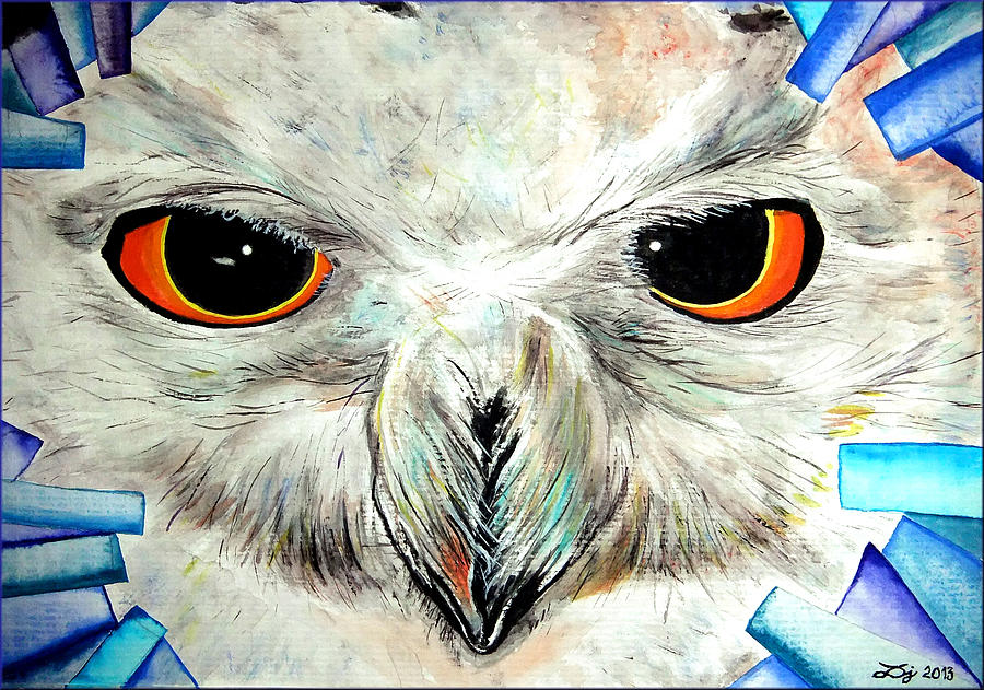 Snowy Owl - Female - Close Up Painting  - Snowy Owl - Female - Close Up Fine Art Print