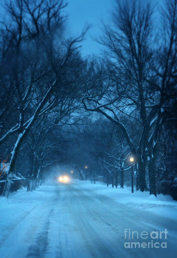 snowy road on a winter evening photograph by jill battaglia