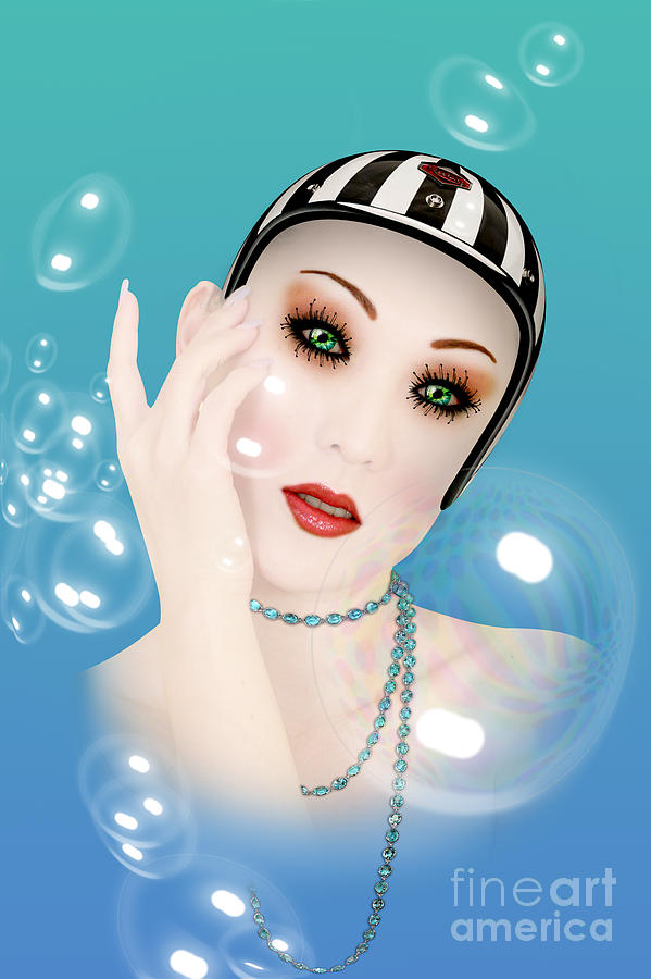 Soap Bubble Woman  Digital Art  - Soap Bubble Woman  Fine Art Print