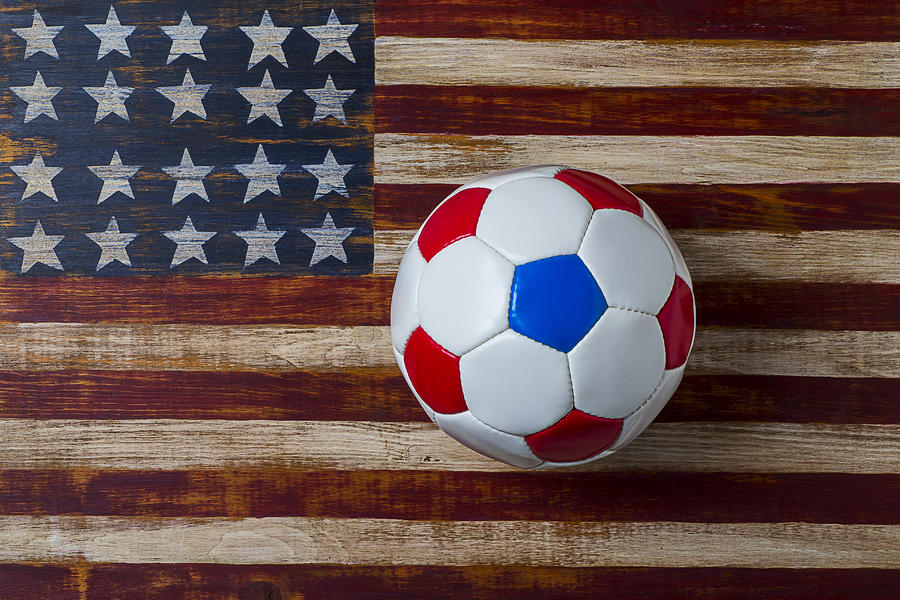 Soccer Ball On American Flag Photograph