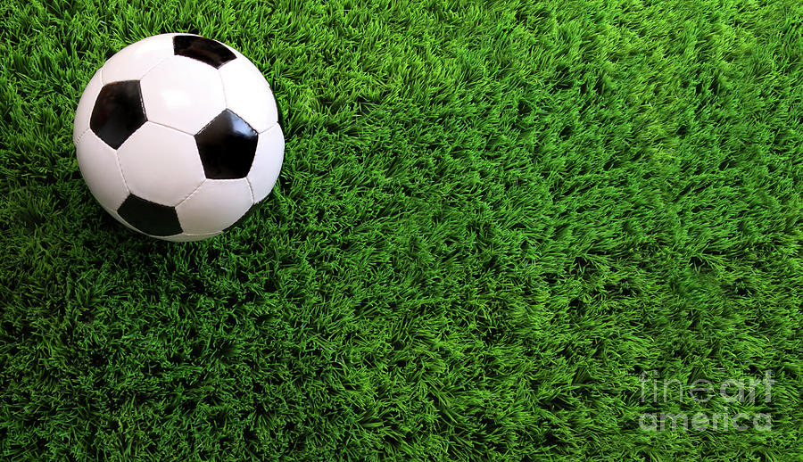 Soccer Ball On Green Grass Photograph