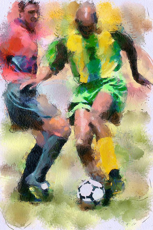 Soccer Fight Digital Art  - Soccer Fight Fine Art Print