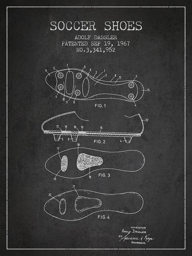 Soccer Shoe Patent From 1967 Drawing