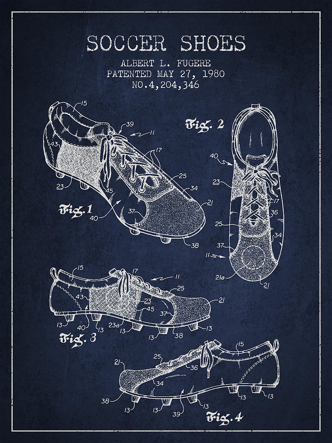 Soccershoe Patent From 1980 Drawing