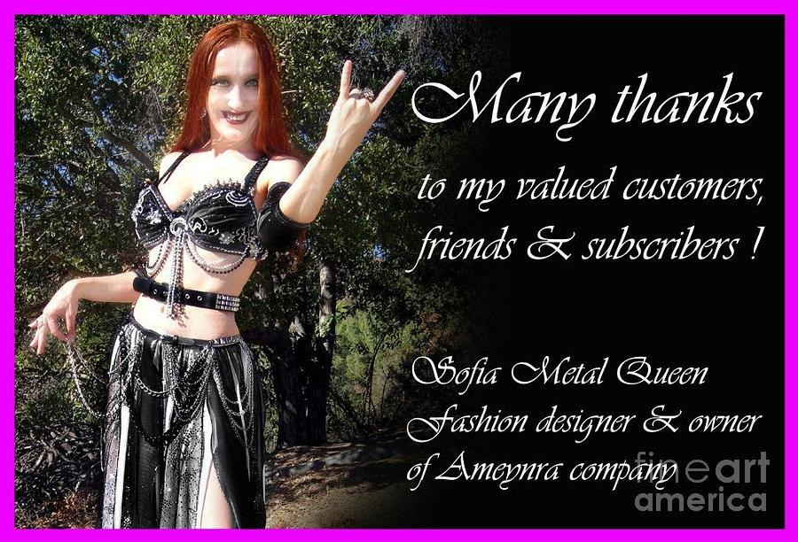 Sofia The Metal Queen. Thank You Message To Customers Photograph