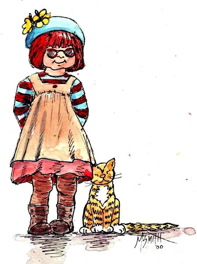 Red Haired Girl Drawing - Sofie by Marilyn Smith