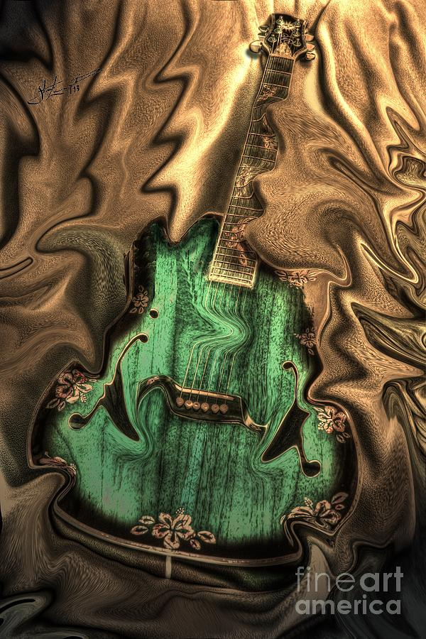 Soft Music Digital Guitar Art By Steven Langston Photograph  - Soft Music Digital Guitar Art By Steven Langston Fine Art Print