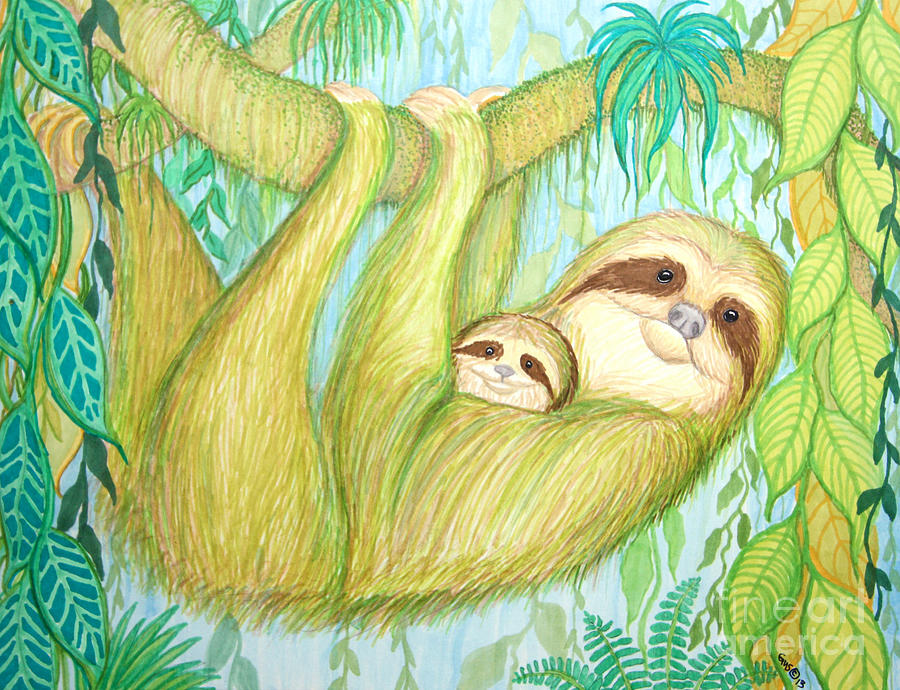 Soggy Mossy Sloth Drawing  - Soggy Mossy Sloth Fine Art Print