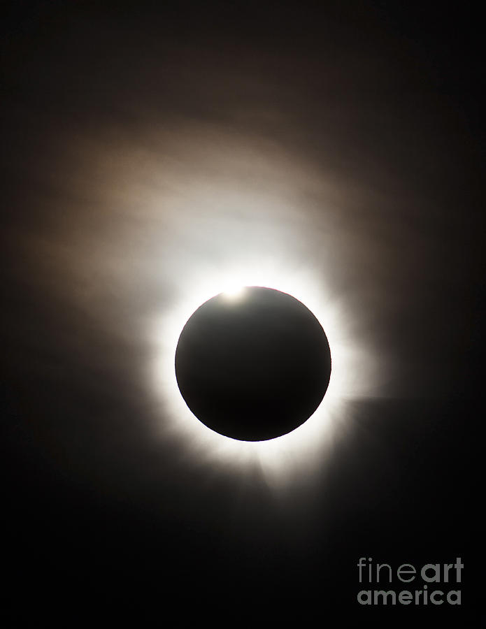Solar Eclipse With Diamond Ring Effect Photograph