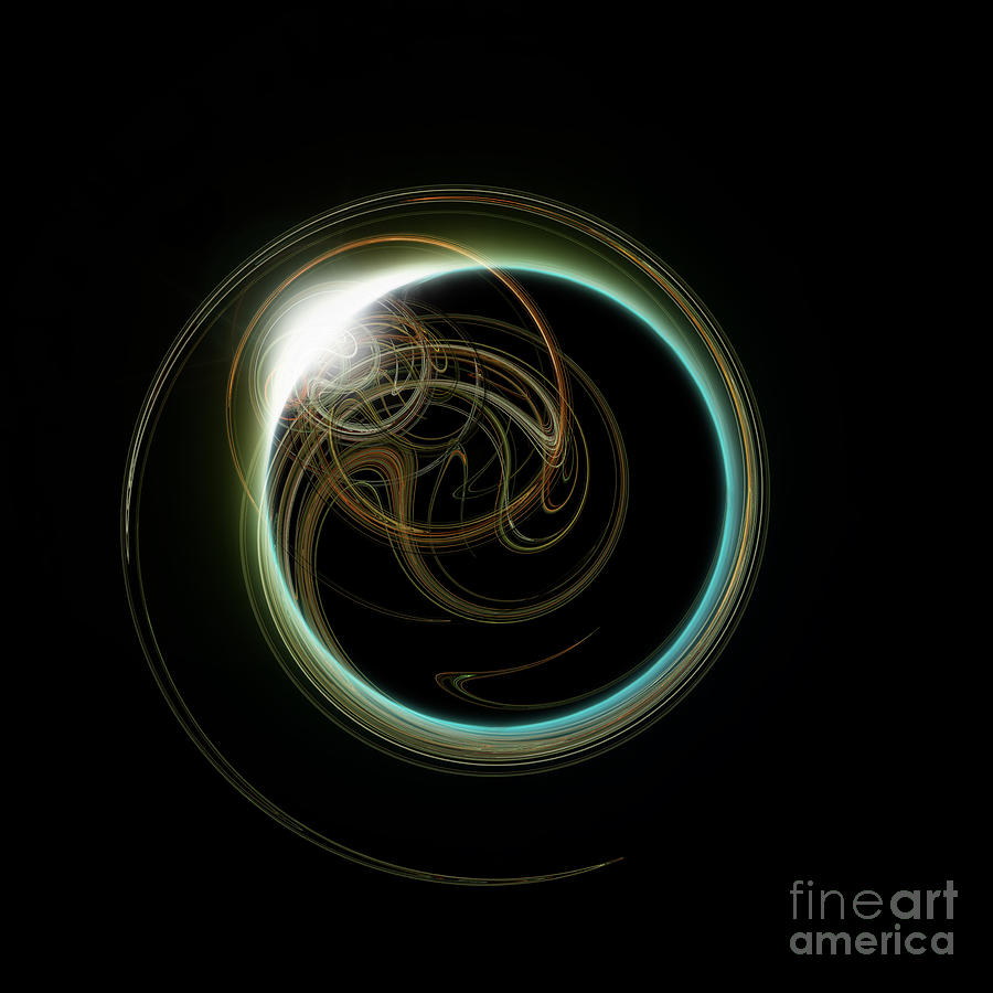 Solar Eclipse With Fractal Digital Art  - Solar Eclipse With Fractal Fine Art Print