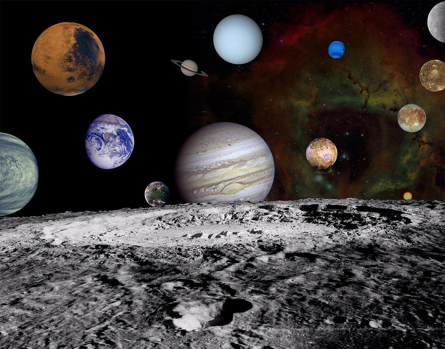 Solar System Montage Of Voyager Images Photograph