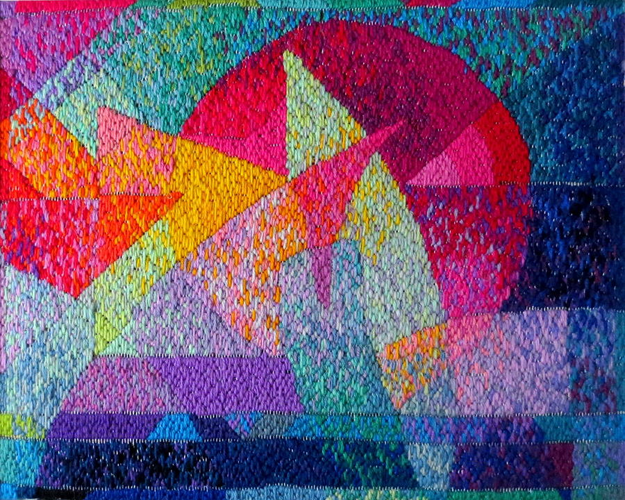 Abstract Expressionist Needlepoint Tapestry - Textile - Solar Tapestry by Diane Fine
