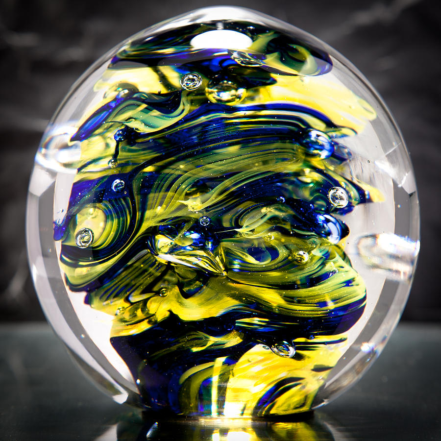 Solid Glass Sculpture - 13r3 - Yellow And Cobalt Blue Glass Art