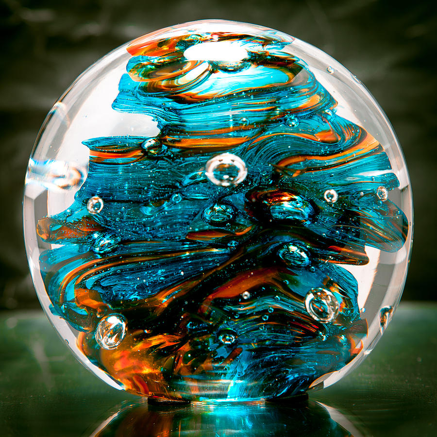 Solid Glass Sculpture 13r6 Teal And Orange Glass Art