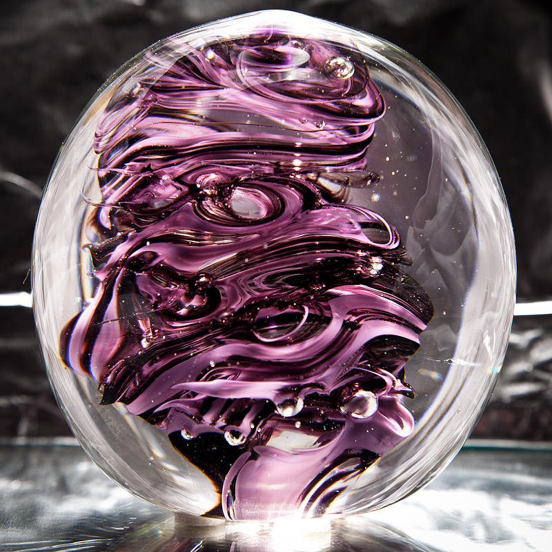 Solid Glass Sculpture Rp5 - Purple And White Sculpture