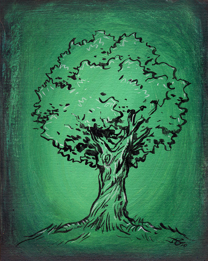 Solitary Tree In Green Drawing  - Solitary Tree In Green Fine Art Print