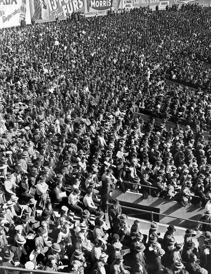 Some Of The Fans At Yankee Stadium In New York Watching A Baseba Photograph