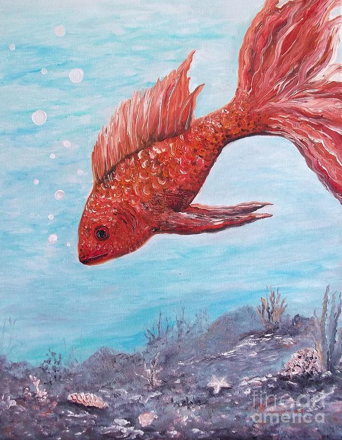 Fish Painting - Something Is Fishy by Rhonda Lee