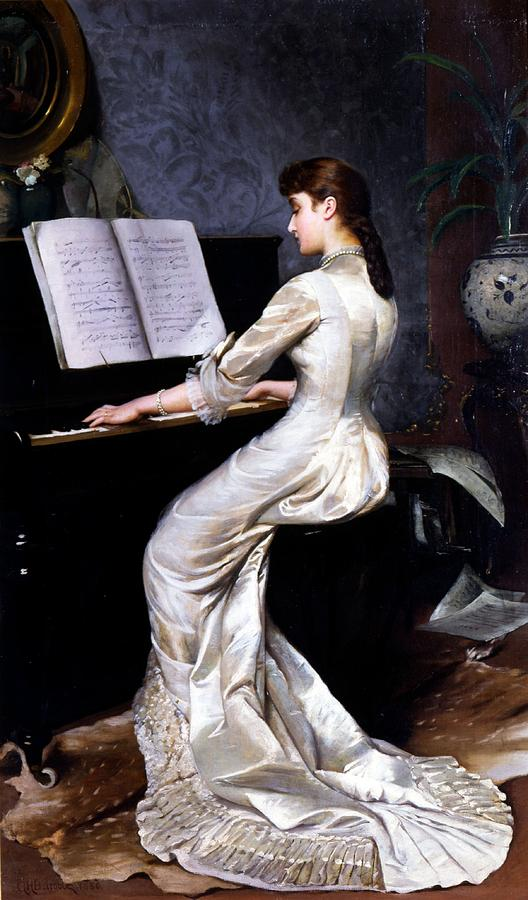Song Painting - Song Without Words, Piano Player, 1880 by George Hamilton Barrable