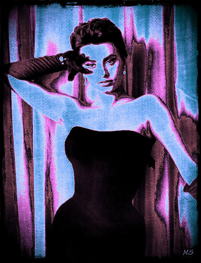 Sophia Loren - Blue Pop Art Digital Art  - Sophia Loren - Blue Pop Art Fine Art Print