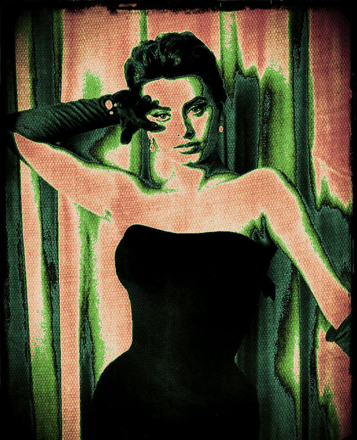 Sophia Loren - Green Pop Art Digital Art