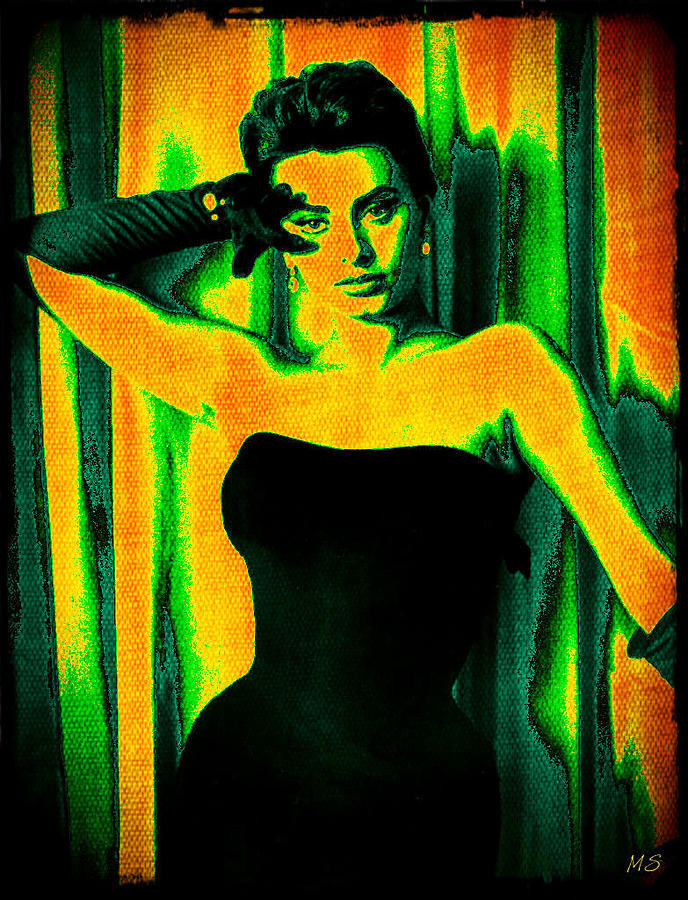 Sophia Loren - Neon Pop Art Digital Art