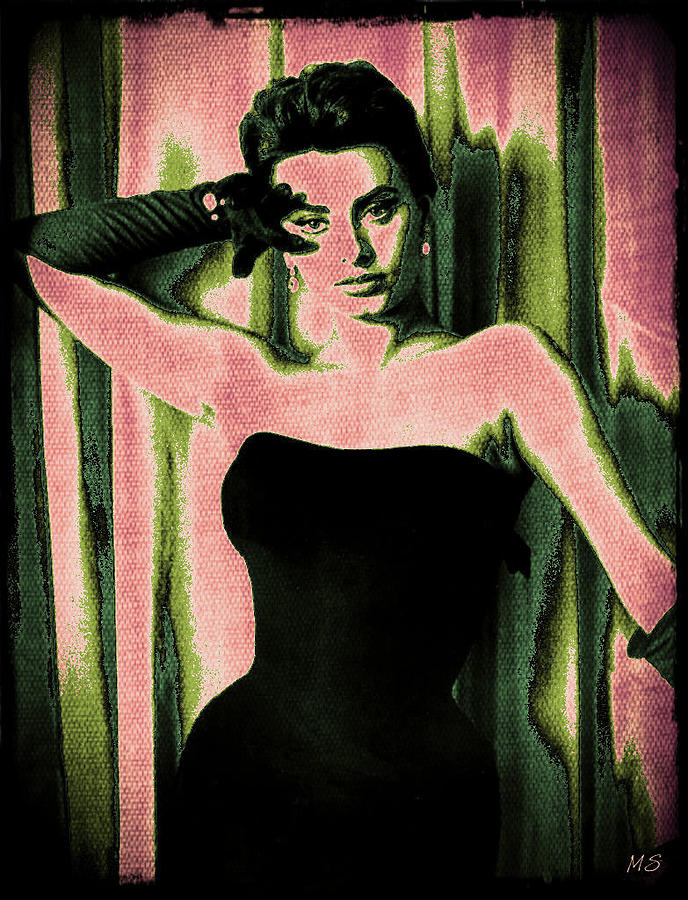 Sophia Loren - Pink Pop Art Digital Art  - Sophia Loren - Pink Pop Art Fine Art Print