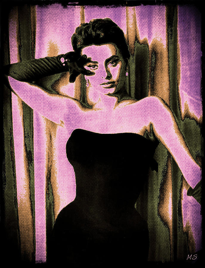 Sophia Loren - Purple Pop Art Digital Art
