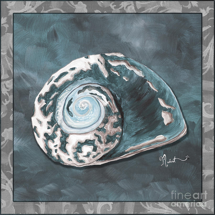 Sophisticated Coastal Art Original Sea Shell Painting Beachy Sea Snail By Megan Duncanson Of Madart Painting