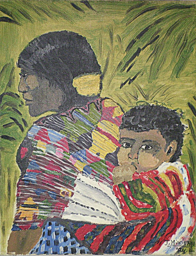 South American Mohter And Child Painting  - South American Mohter And Child Fine Art Print