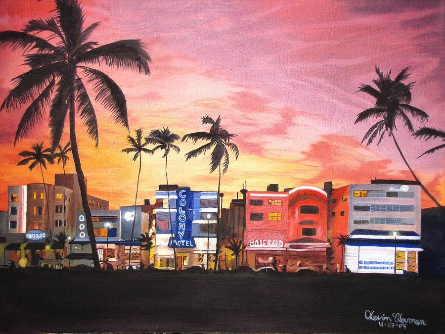 South Beach Ocean Drive Painting  - South Beach Ocean Drive Fine Art Print