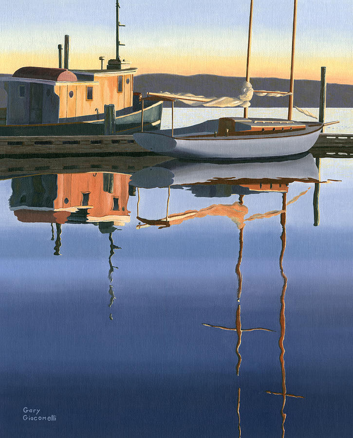 South Harbour Reflections Painting  - South Harbour Reflections Fine Art Print