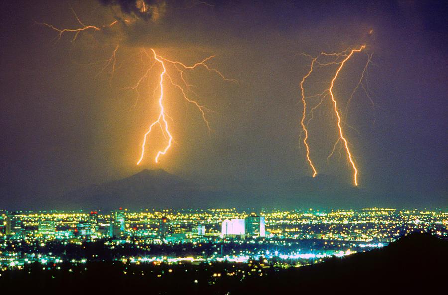 Lightning Photograph - South Mountain Lightning Strike Phoenix Az by James BO  Insogna