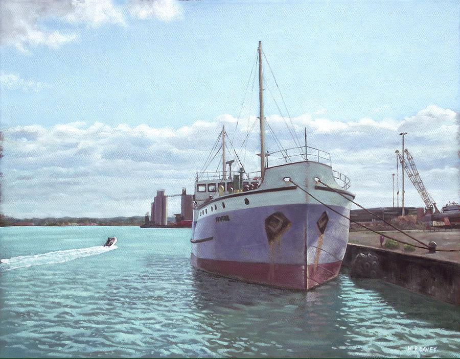 Southampton Docks Ss Shieldhall Ship Painting  - Southampton Docks Ss Shieldhall Ship Fine Art Print