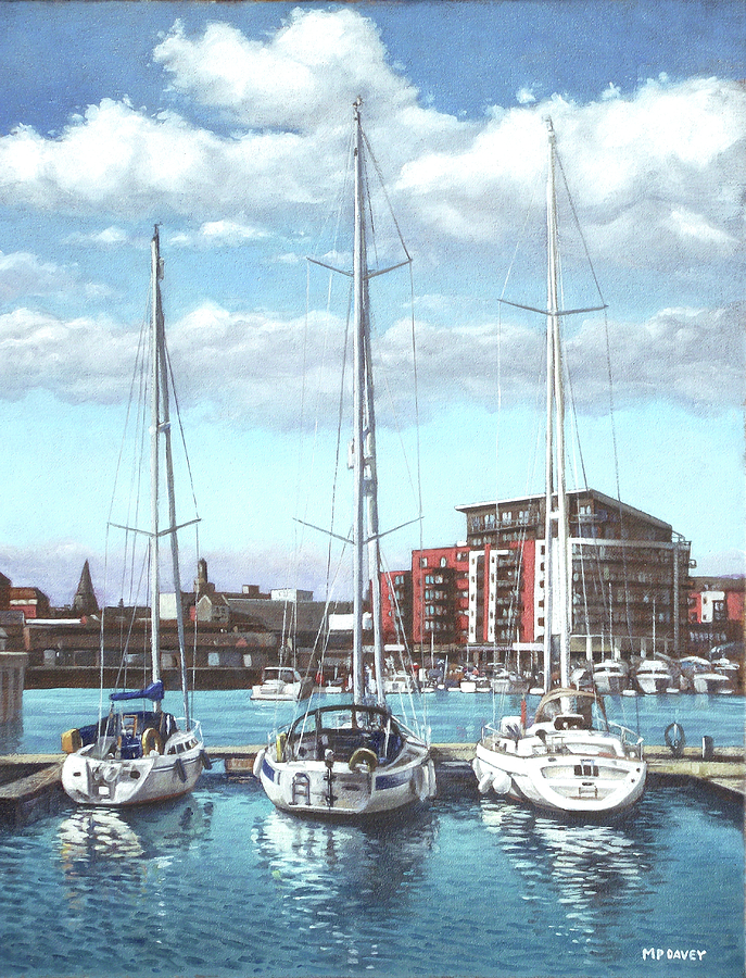 Southampton Ocean Village Marina Painting by Martin Daveydavey village