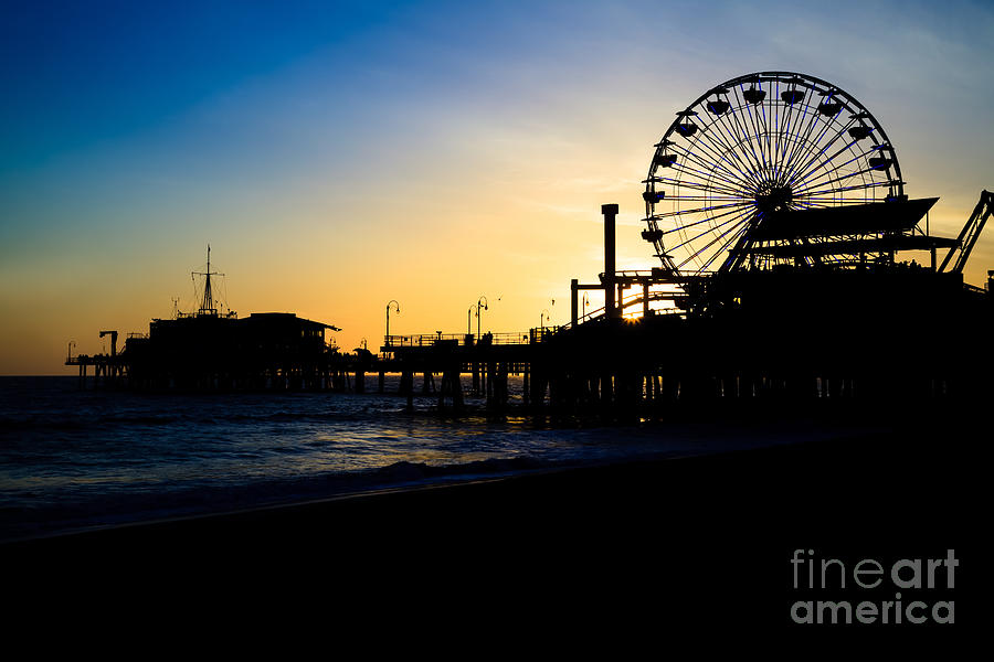 America Photograph - Southern California Santa Monica Pier Sunset by Paul Velgos