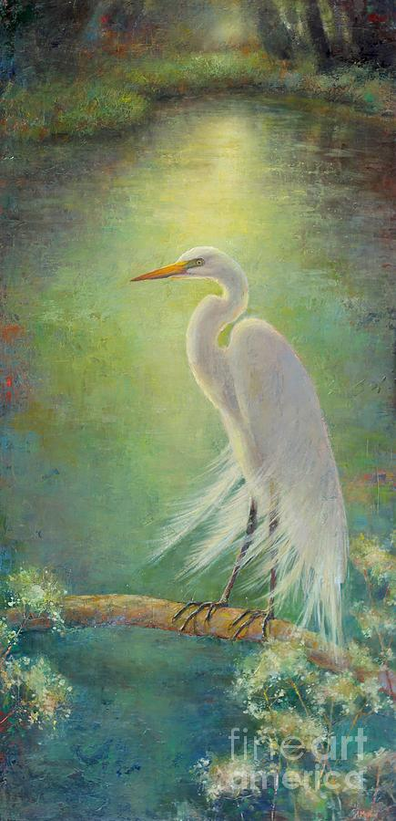 White Egret Bird Painting - Southern Serenity  by Lori  McNee