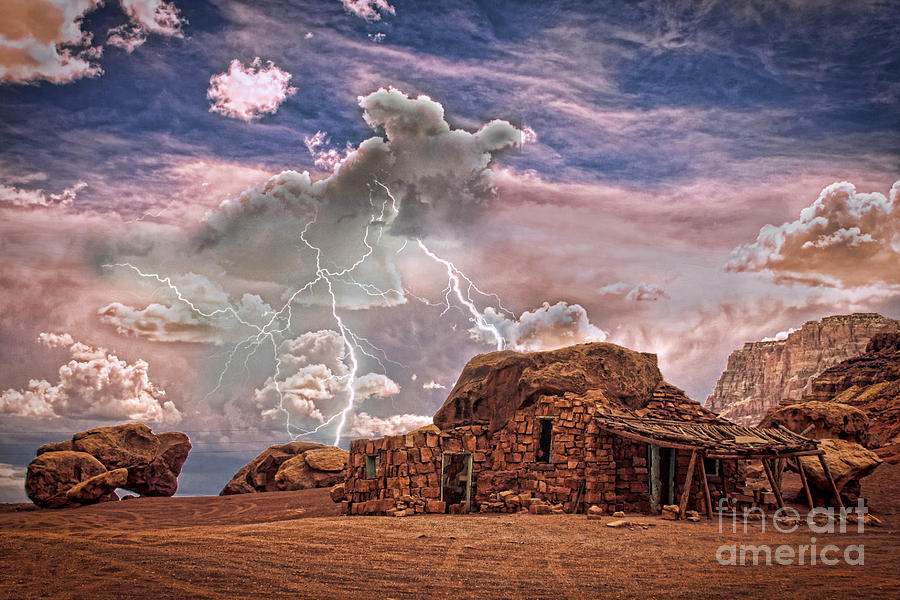 Southwest Navajo Rock House And Lightning Strikes Hdr Photograph  - Southwest Navajo Rock House And Lightning Strikes Hdr Fine Art Print