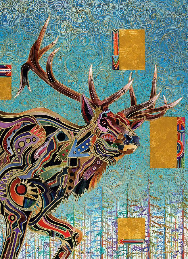 This Was A Commissioned Piece From A Friend. The Elk Was Taken On The Apache Indian Reservation In Arizona. I Tried To Give The Painting And The Subject A Southwestern Color Feel. I Used A Gold Leaf Pen For The Linear Work In The Background Painting - Southwestern Elk by Bob Coonts