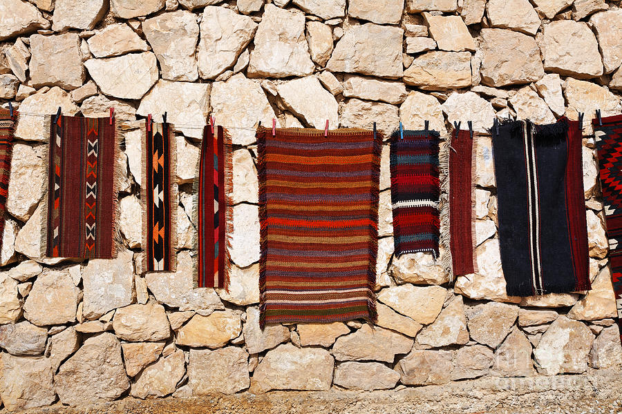 Souvenir Rugs For Sale At Wadi Mujib Jordan Photograph  - Souvenir Rugs For Sale At Wadi Mujib Jordan Fine Art Print