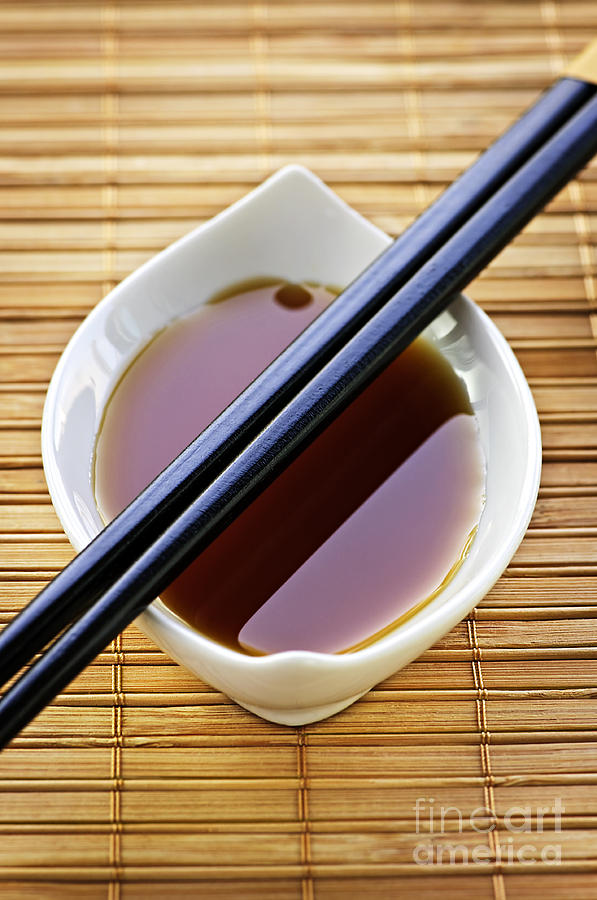 Soy Sauce With Chopsticks Photograph