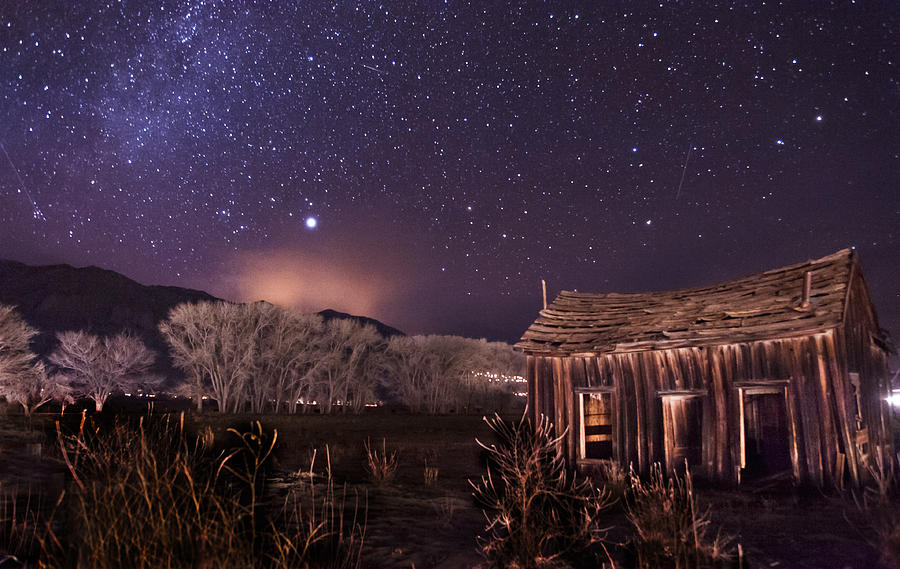 Night Stars Sky milky Way Architecture Building History Light California eastern Sierra sierra Nevada Scenic Landscape Nature Photograph - Space And Time by Cat Connor