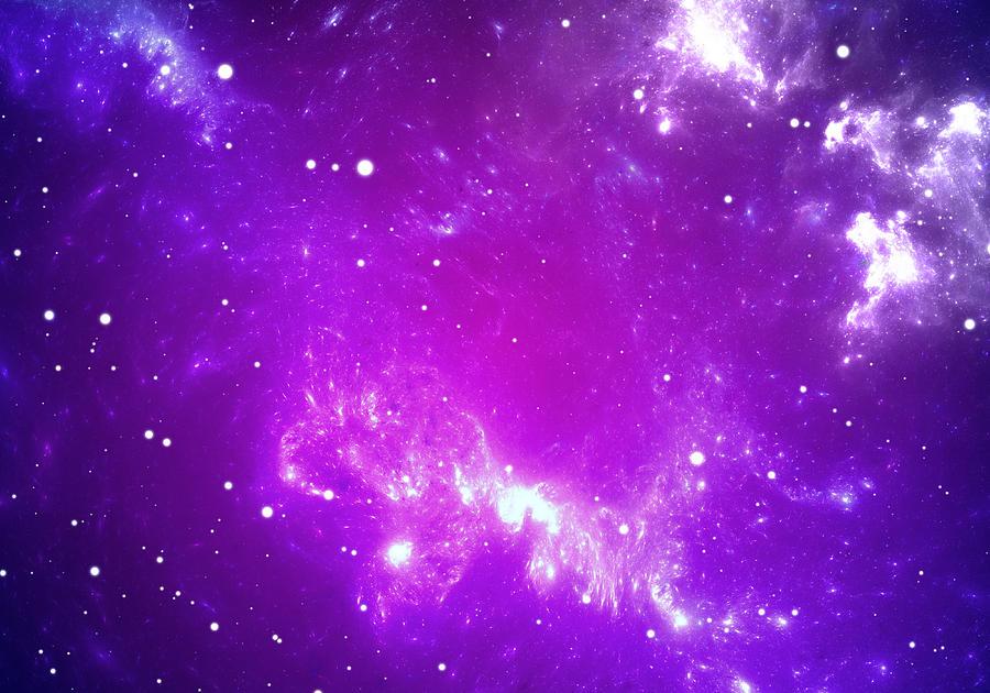 Space Background With Purple Nebula And Stars Digital Art ...