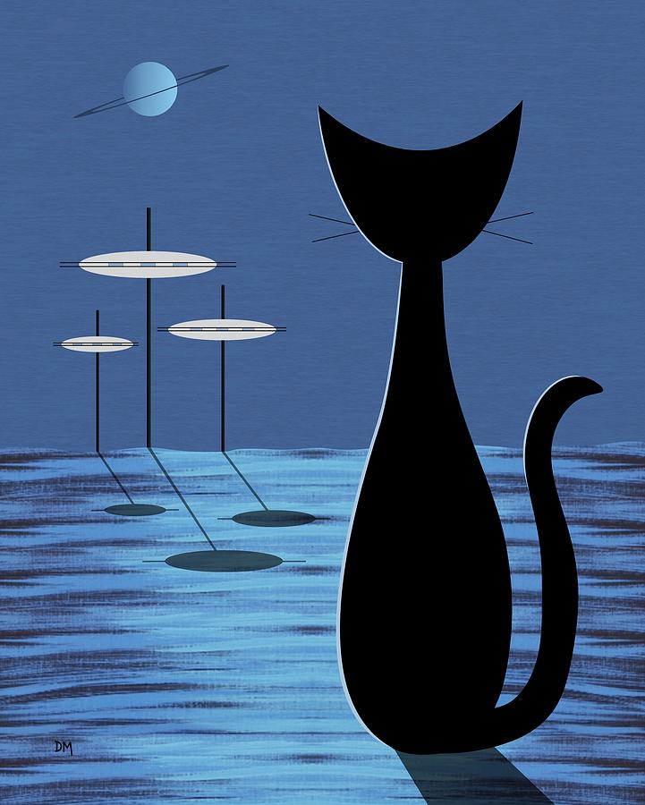 Mid Century Modern Digital Art - Space Cat In Blue by Donna Mibus
