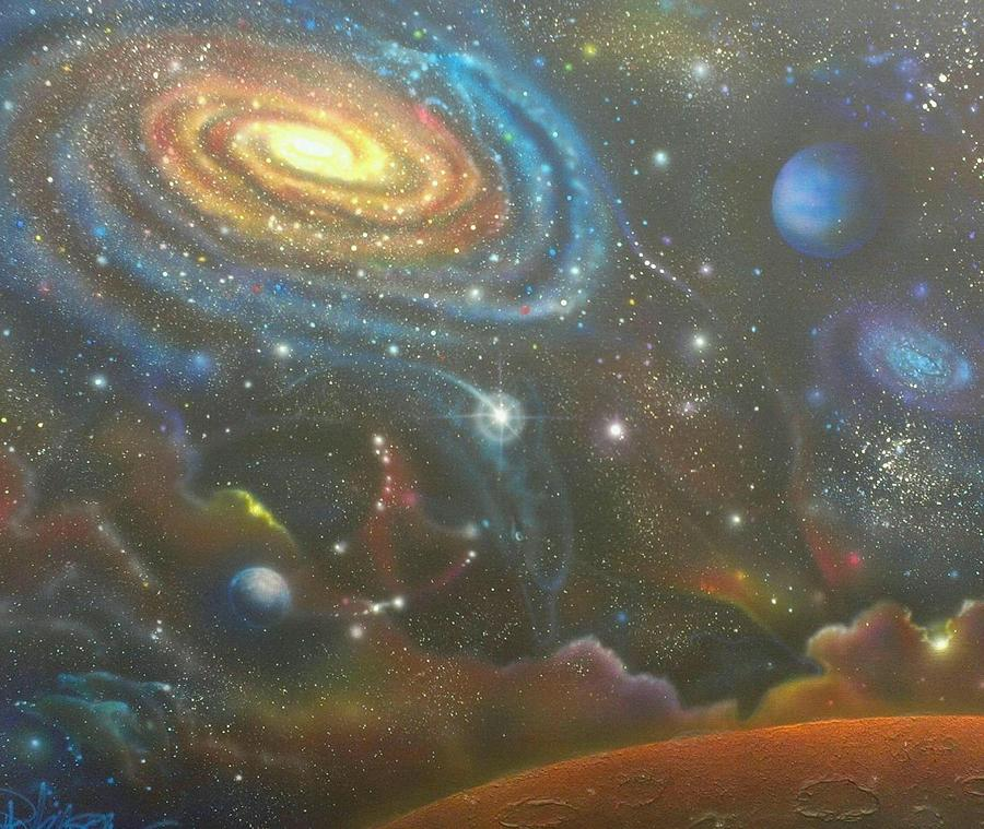Space Dolphins Painting  - Space Dolphins Fine Art Print