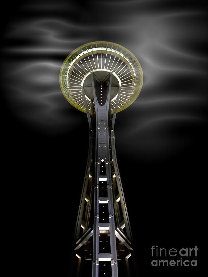 Space Needle And Clouds Mixed Media