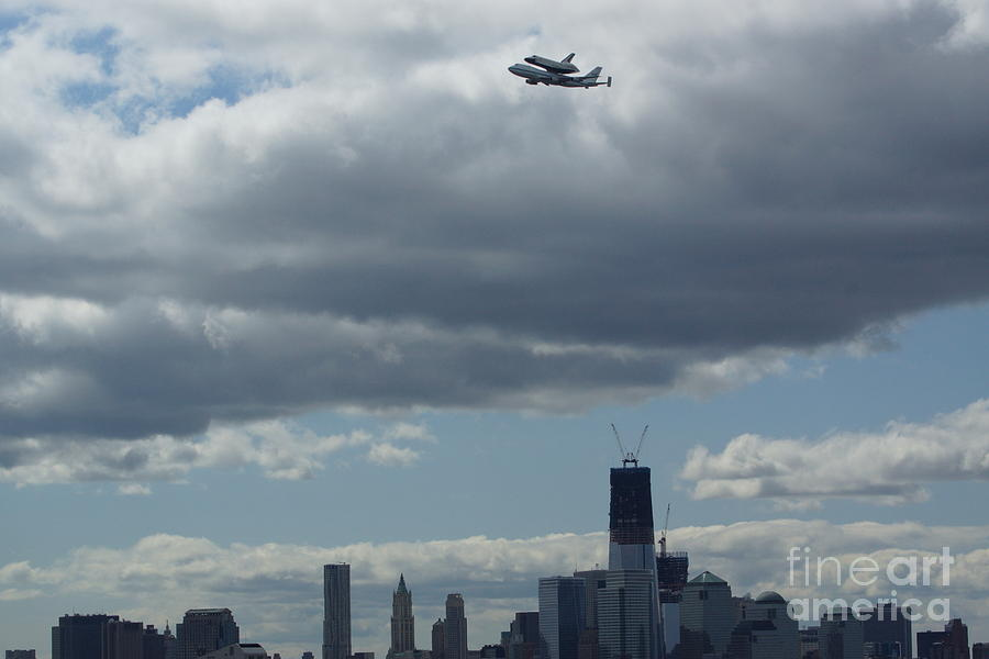 Space Shuttle Enterprise Flys Over Nyc Digital Art  - Space Shuttle Enterprise Flys Over Nyc Fine Art Print