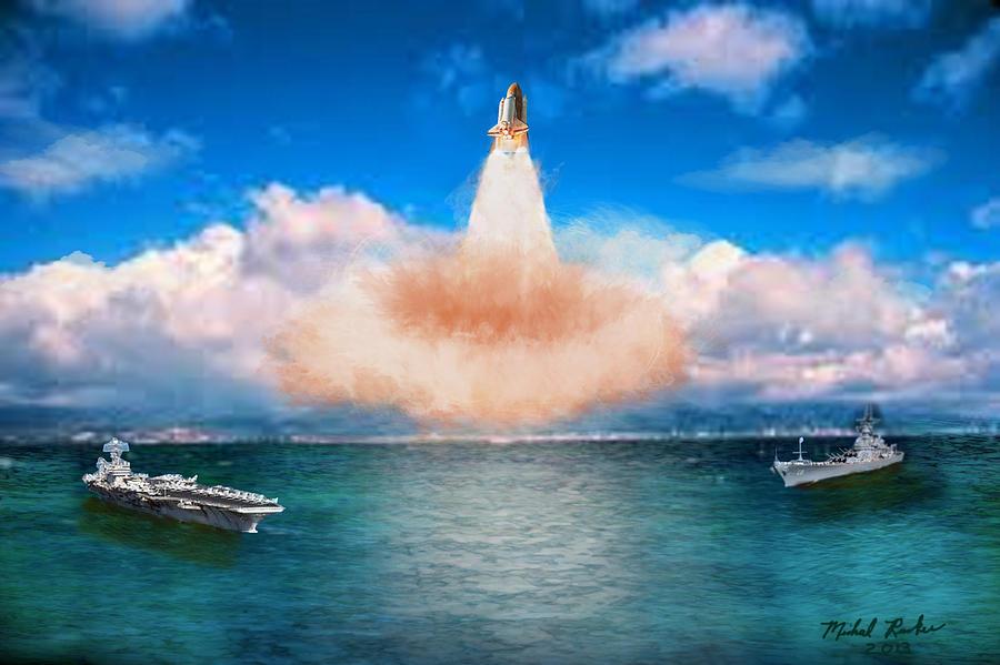 Space Shuttle Launch Digital Art by Michael Rucker